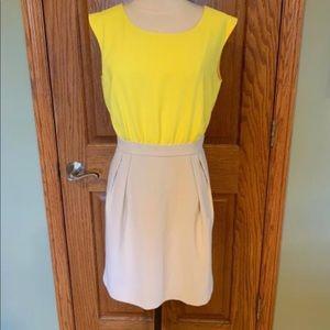 Ann Taylor LOFT yello and beige dress